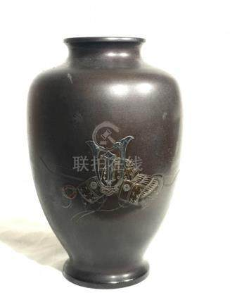Japanese Mixed Metal Bronze Vase - Samurai