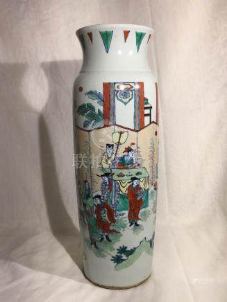 Chinese Wucai Porcelain Vase - Warrior