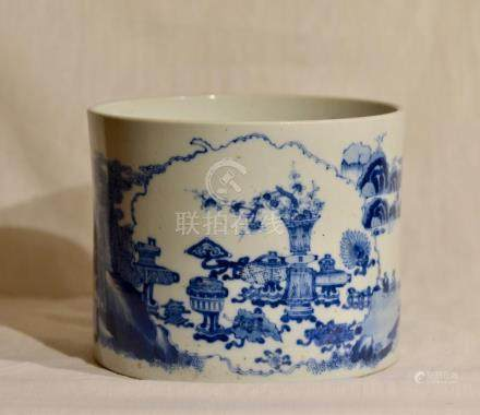Chinese Blue White Porcelain Brushpot - Scholars