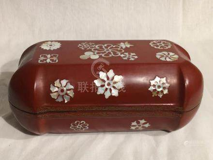 Chinese Red Lacquer Box with Mother of Pearl Inlay