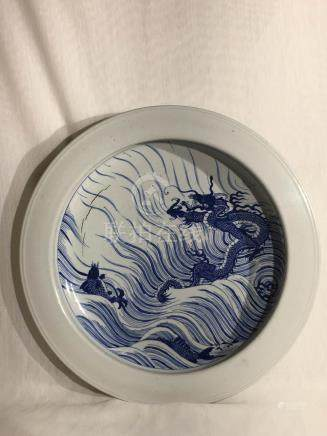Chinese Blue White Basin with Dragon Motif