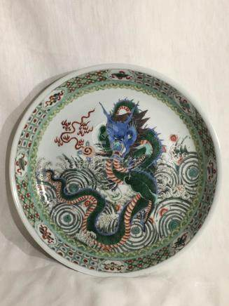 Chinese Famille Verte Porcelain Dish with Dragon