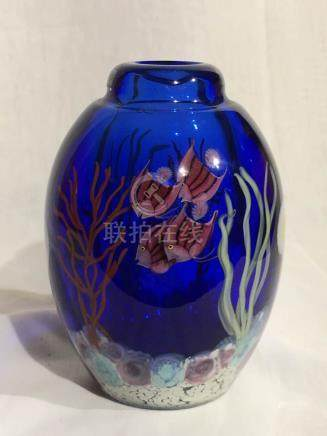 Art Glass Vase with Fish Motif