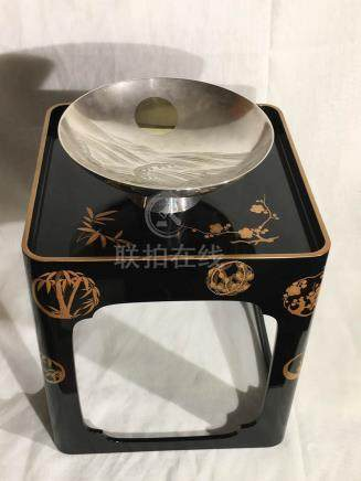 Japanese Lacquer Stand and Silver Bowl