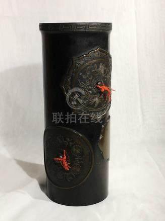 Japanese Bronze Vase - Mirror Motif