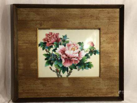 Japanese Cloisonne Plaque in Frame