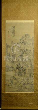 Japanese Water Color Scroll Painting - Mountain Landscape