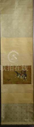 Chinese Water Color Scroll Painting - Warrior on Horse