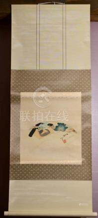 Japanese Water Color Scroll Painting - Fan