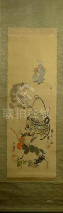 Japanese Water Color Scroll Painting - Monkey and Crab
