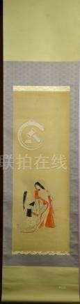 Japanese Water Color Scroll Painting - Nude