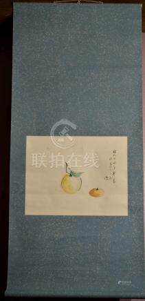 Japanese Water Color Scroll Painting -Fruits