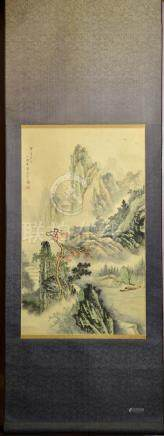 Chinese Water Color Scroll Painting - Landscape