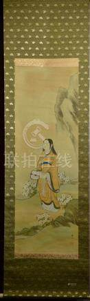Japanese Water Color Scroll Painting - Lady with Fan