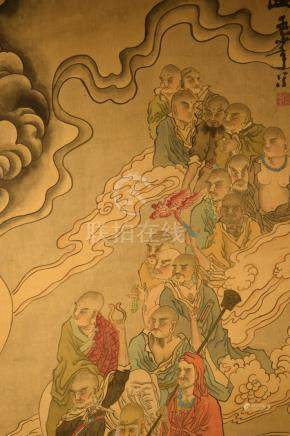 Japanese Scroll Painting on Silk - Lohans
