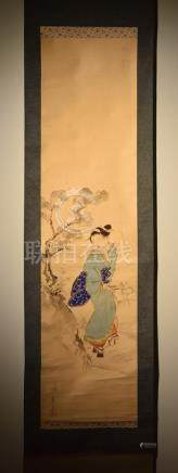 Japanese Scroll Painting of Beauty in Garden
