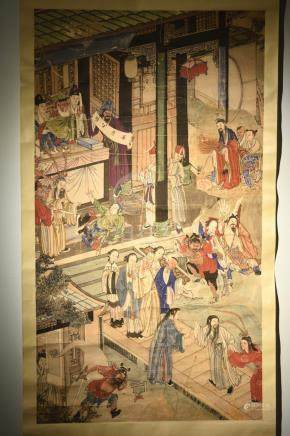 Chinese Scroll Painting of Figural Scene