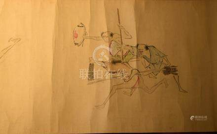 Japanese Long Hand Scroll Painting of Folk Tales