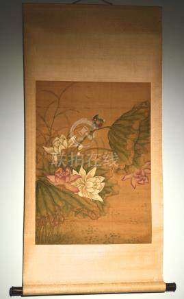 Chinese Scroll Painting on Silk - Bird on Lotus