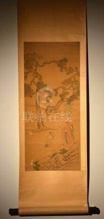 Chinese Scroll Painting of Scholar and Horse - Chen