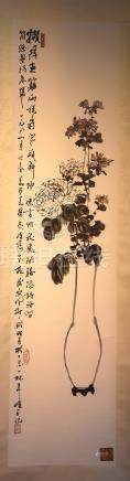 Chinese Scroll Painting - Vase and Floral