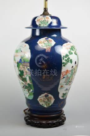 Chinese Famille Verte Covered Vase lamp