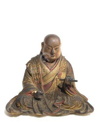 Japanese Lacquered Wood Monk