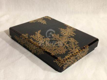 Japanese Black Lacquer Box with Gold Leaf Lacquer