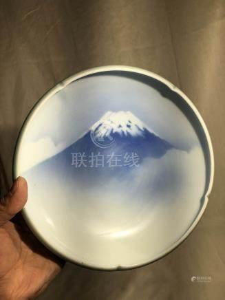 Japanese Fukugawa Porcelain Bowl - Mt. Fuji