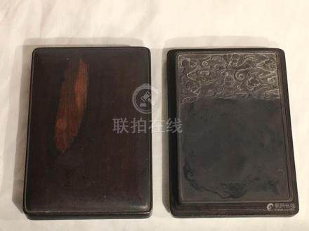Chinese Inkstone with Bats - Rosewood Case