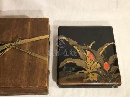 Japanese Lacquer Box with Bird and Red Berry