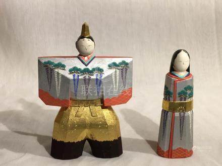 Japanese carved Polychrome Wood Figurines