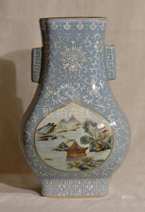 Chinese Famille Rose Porcelain Hu Shaped Vase -