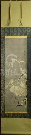 Japanese Water Color Scroll Painting - heron