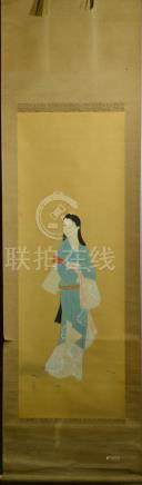 Japanese Water Color Scroll Painting - beiji
