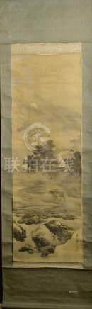 Japanese Water Color Scroll Painting - boy in mountain