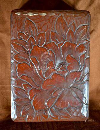 Japanese Carved Lacquer Box - Peony