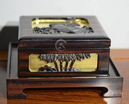 Japanese Lacquer and Wood Box on Tray Set