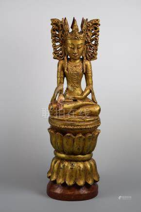 South East Asian Burmese Gold Lacquered Wood Buddha