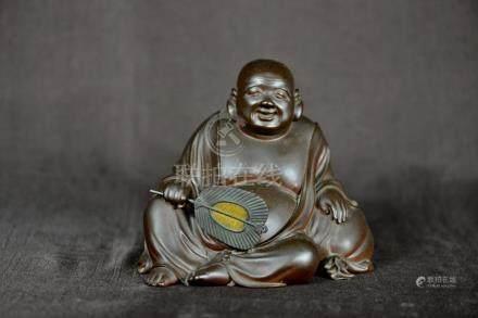 Japanese Bronze Hotei with Gilt Bronze Fan