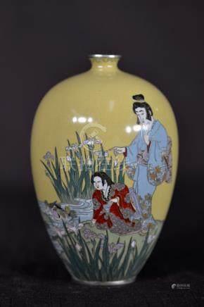 Japanese Cloisonne Vase with Geisha Girl