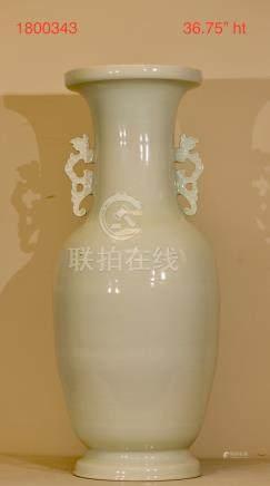 Massive Chinese White Glazed Porcelain Floor Vase