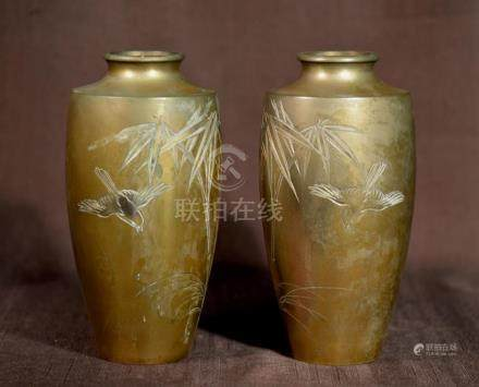 Pair Japanese Bronze Vases with Etched Bird Scene