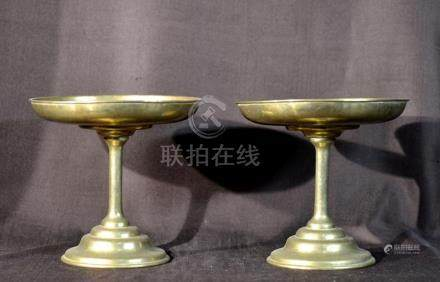 Pair Antique Chinese Bronze Stemed Dish with Silver