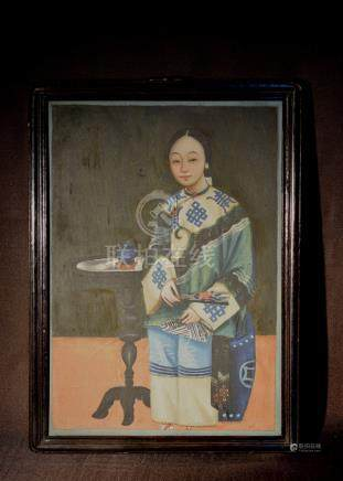 Chinese Export Painting of Lady with Blue Tea Cup
