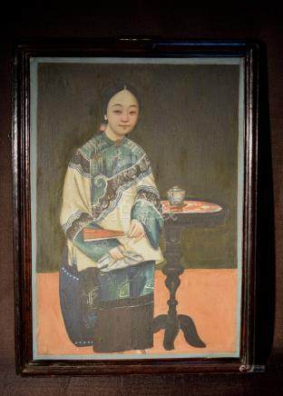 Chinese Export Painting of Lady with White Tea Cup