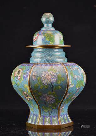 Chinese Cloisonne Covered Vase with Floral Motif