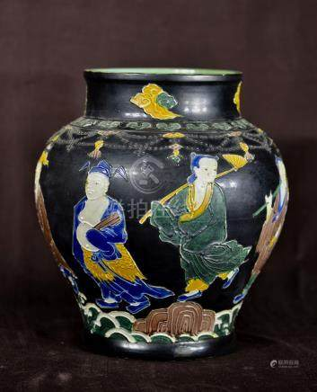 Chinese Fahua Porcelain Jar with Immortals