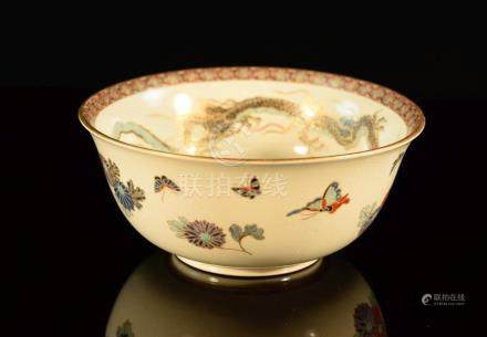 Japanese Satsuma Bowl with Dragon and Landscape