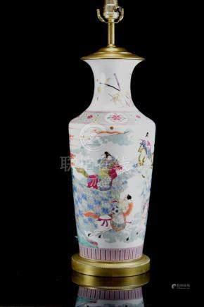 Chinese Famille Rose Porcelain Figural Vase Lamp